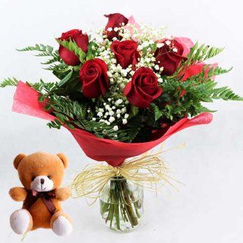 envio de 6 rosas baratas con osito