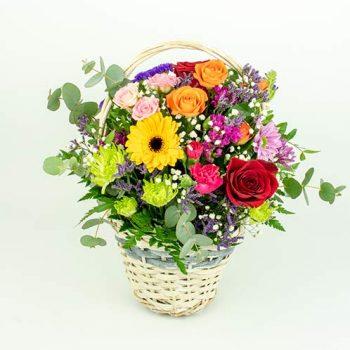 cesta flores multicolor