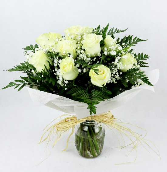 Ramo 12 rosas blancas - Telefloristeria