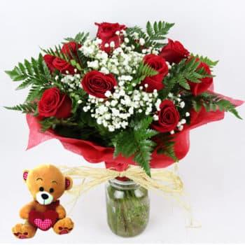 mandar docena rosas rojas osito