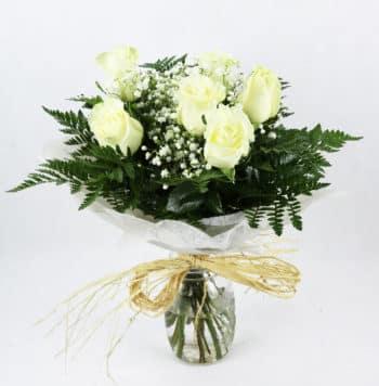 envio de seis rosas blancas