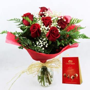 envio seis rosas rojas bombones