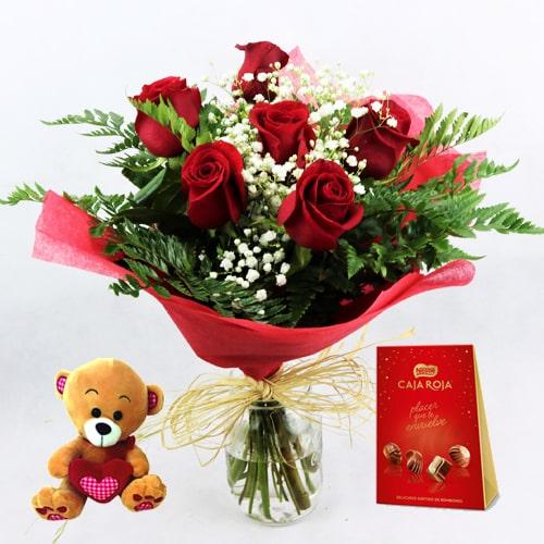 envio seis rosas rojas bombones osito