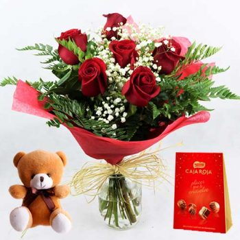 ramo de 6 rosas rojas con bombones nestle y osito peluche