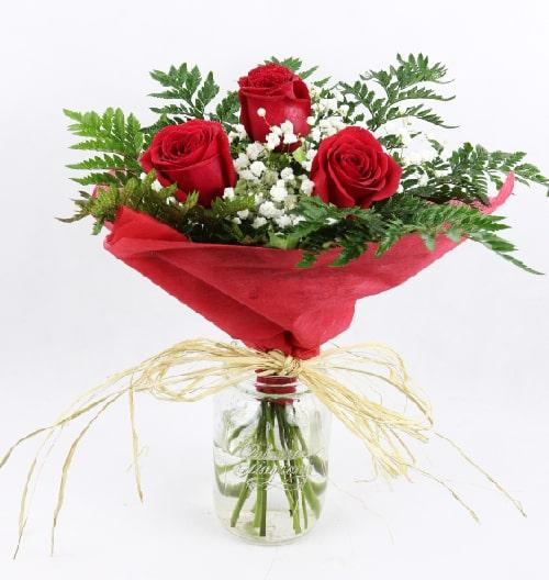 regalar tres rosas rojas a domicilio