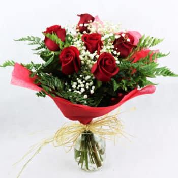 regalar ramo de 6 rosas rojas